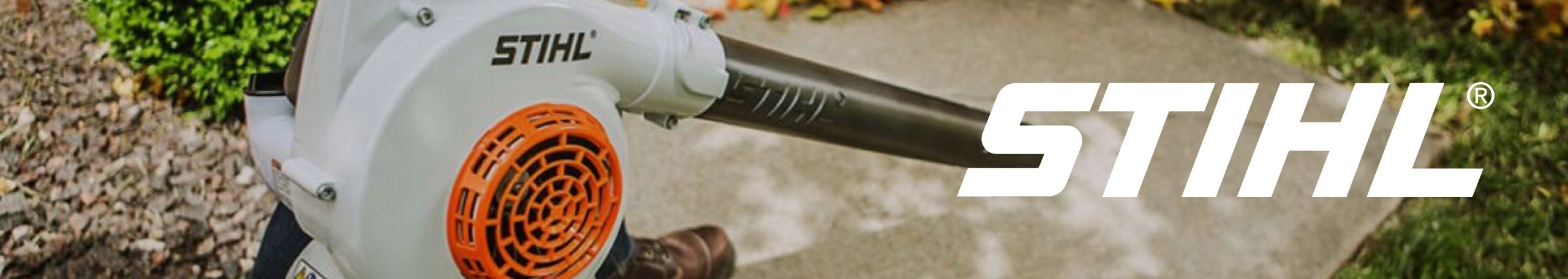 Stihl logo with leaf blower