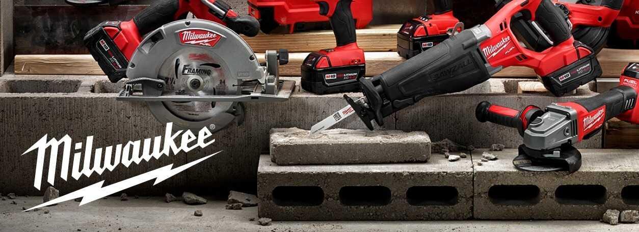 Milwaukee logo with power tools