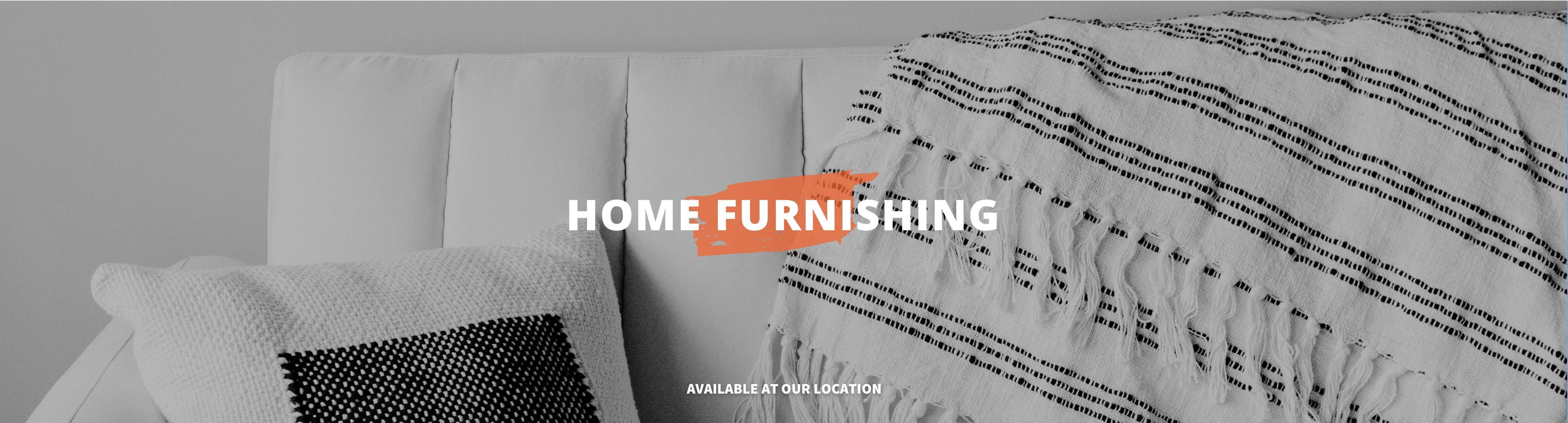 Home Furnishing title with a white couch, pillow, and throw blanket - Available at Our Location