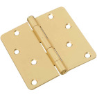 4 In. x 1/4 In. Radius Satin Brass Door Hinge Image 1