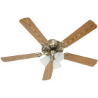 Home Impressions Sherwood 52 In. Antique Brass Ceiling Fan with Light Kit Image 2