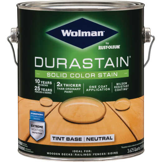 Wolman DuraStain One Coat Solid Color Exterior Stain, Neutral Base, 1 Gal.